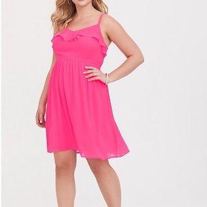 LIKE NEW Torrid Hot Pink Chiffon Skater Dress!